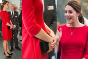 Brzuszek Kate Middleton w czerwonej sukience (ZDJĘCIA)