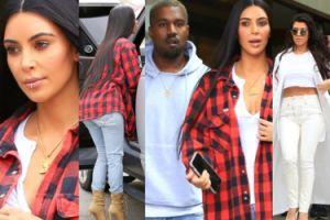 Kim we flanelowej koszuli na lunchu z siostrą i mężem. Zmienia styl? (ZDJĘCIA)