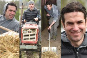 Dorociński jeździ traktorem i przerzuca siano w schronisku dla zwierząt (ZDJĘCIA)