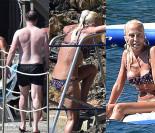 Pomarszczona Donatella Versace opala się w bikini (ZDJĘCIA)