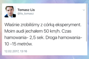 """Tomasz Lis zrobił """"eksperyment"""" na drodze"""