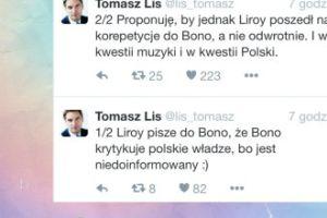 """Tomasz Lis: """"Proponuję, by jednak Liroy poszedł na korepetycje do Bono..."""""""