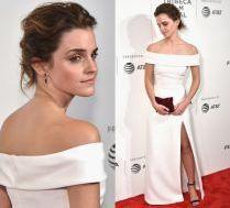 Emma Watson w białej sukni na czerwonym dywanie