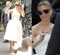 Renee Zellweger w białej sukience promuje