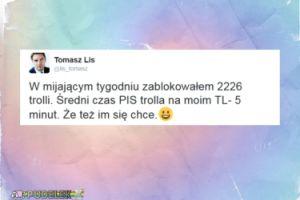 """Tomasz Lis chwali się: """"Zablokowałem 2226 trolli"""""""