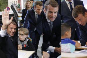 Emmanuel Macron zabawia dzieci podczas ich pierwszej lekcji w szkole (ZDJĘCIA)