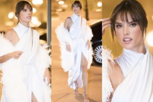 Alessandra Ambrosio pokazuje nogi na paryskim tygodniu mody (ZDJĘCIA)