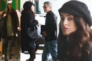 Ciężarna Amal Clooney z Georgem i teściami na lotnisku (ZDJĘCIA)