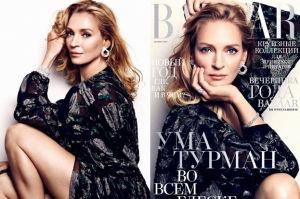 "Uma Thurman w rosyjskim ""Harper's Bazaar"""