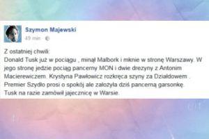 Szymon Majewski śmieje się z przyjazdu Tuska do Polski