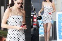 Dziewczęca Kendall Jenner w sukience w kropki