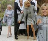 Długie nogi Brigitte Macron na spacerze z psem Nemo (ZDJĘCIA)