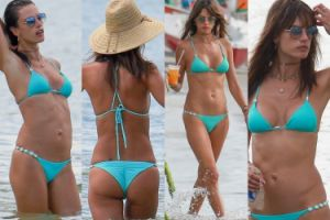 Alessandra Ambrosio w bikini na plaży w Brazylii (ZDJĘCIA)