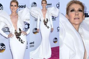 """Dumna Celine Dion pozuje w """"skrzydlatej"""" sukni z dekoltem do pępka (ZDJĘCIA)"""