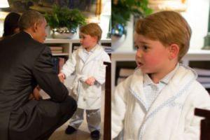 Książę Jerzy w piżamie wita się z Barackiem Obamą (ZDJĘCIA)