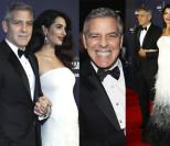 Uśmiechnięty Clooney z ciężarną Amal na gali. Widać już brzuszek! (ZDJĘCIA)