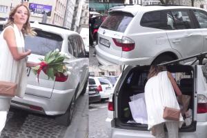 Książkiewicz przyjechała na pokaz wgniecionym autem
