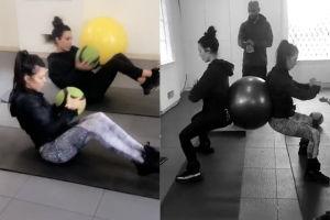 Kim Kardashian ćwiczy razem z siostrą