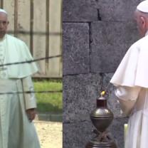Papież Franciszek w Auschwitz. Samotnie przeszedł przez bramę obozu