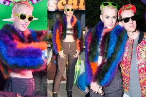 Blond Katy Perry w kolorowym futrze imprezuje na Coachella (ZDJĘCIA)