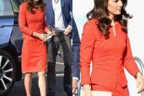 Chuda księżna Kate w czerwonym kostiumie za 12 tysięcy