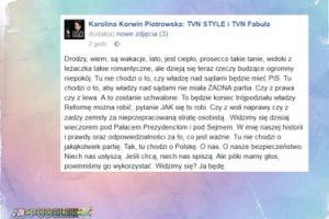"""Korwin Piotrowska: """"Widzimy się dzisiaj wieczorem pod Pałacem Prezydenckim i pod Sejmem"""""""