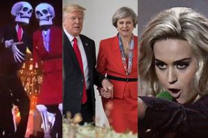 """""""Polityczne"""" show Katy Perry na Brit Awards 2017: Trump i brytyjska premier jako... KUKŁY-SZKIELETY!"""