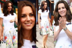 Elegancka Kate Middleton w kwiatach ogląda finał Wimbledonu (ZDJĘCIA)