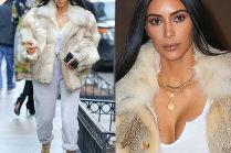 Kim Kardashian w dresie i futrze