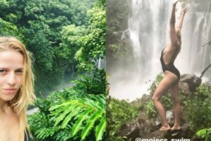 Jessica Mercedes w krzakach przy wodospadzie