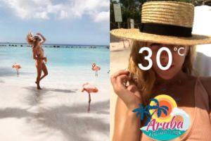 Jessica Mercedes na plaży z flamingami