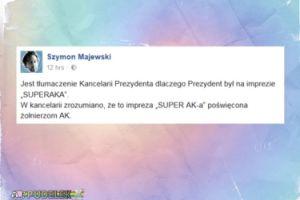 """Majewski śmieje się z Dudy: """"Zrozumiano, że to impreza «SUPER AK-a»"""""""
