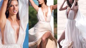 Alessandra Ambrosio pozuje na plaży w sukience (ZDJĘCIA)