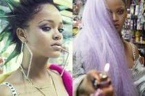 Rihanna z kolorowymi włosami pozuje w sklepie