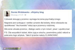 """Wróblewska o bijącym żonę radnym PiS: """"Człowiek stosujący przemoc wymaga leczenia psychiatrycznego"""""""