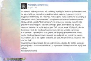 """Kurski nie chciał serialu Saramonowicza? """"Bo źle się wyraża o prezesie Kaczyńskim"""""""
