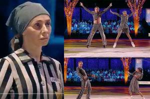 """Skandal w rosyjskim """"Tańcu na lodzie""""! Uczestnicy przebrali się za... więźniów obozu koncentracyjnego! (ZDJĘCIA)"""