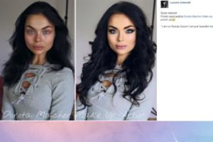Luxuria przed i po makijażu