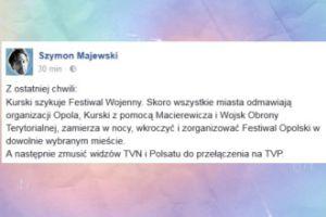 """Majewski: """"Kurski szykuje Festiwal Wojenny"""""""