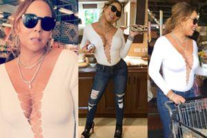 """Carey znowu """"poprawia się"""" w Photoshopie... Wyszczupliła uda i ramię (FOTO)"""