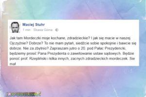 """Maciej Stuhr zaprasza na protest pod Pałacem Prezydenckim: """"Będzie kilka zacnych mordeczek"""""""