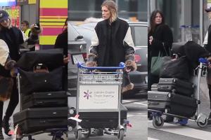 Anja Rubik i jej (4!) walizki na lotnisku w Warszawie