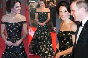 Księżna Kate w sukience Alexandra McQueena na gali BAFTA. Ładnie i nudno? (ZDJĘCIA)