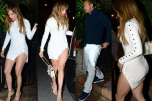 Jennifer Lopez na randce z nowym chłopakiem. Sukienka ledwie zasłaniała jej pupę... (ZDJĘCIA)
