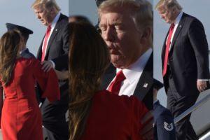 Pierwszy wspólny weekend po zaprzysiężeniu: Melania Trump w balerinach wita męża na lotnisku (ZDJĘCIA)