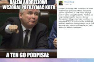 Paweł Kukiz śmieje się z Andrzeja Dudy
