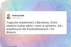 """Andrzej Duda po zamachu w Barcelonie: """"Znów niewinni ludzie zabici i ranni"""""""