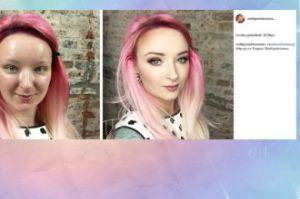 Red Lipstick Monster przed i po makijażu