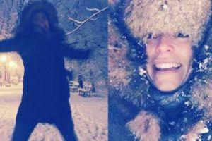 Gwiazdy cieszą się z opadów śniegu (GALERIA)