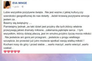 """Ewa Minge pociesza w Walentynki: """"Tym wszystkim, którzy dzisiaj płaczą, jest im smutno, przykro życzę morza miłości"""""""